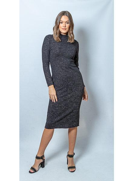 Long Knit Dress Lurex Black