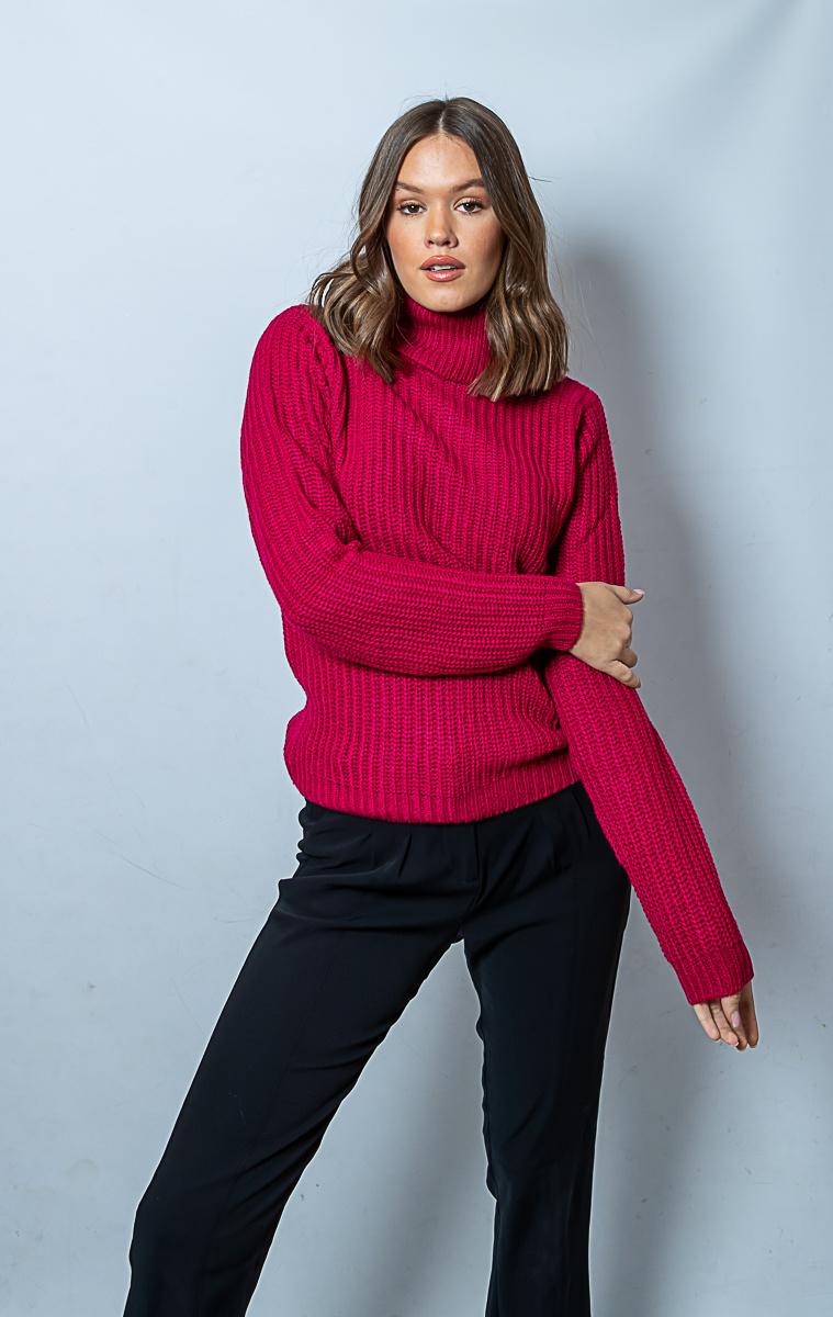RC Tinelle Rollneck Knit Dark Pink