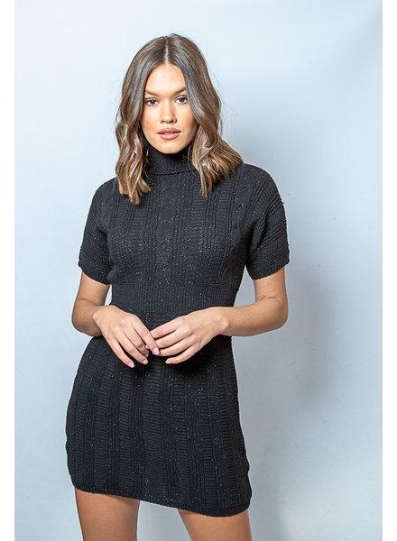 AA Short Knit Dress Lurex Black
