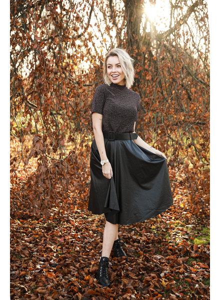 AT Leatherlook Skirt Black Belt