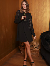 TS Black Dress Black Paillettes Sleeve