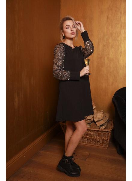 TS Black Dress Paillettes Sleeve