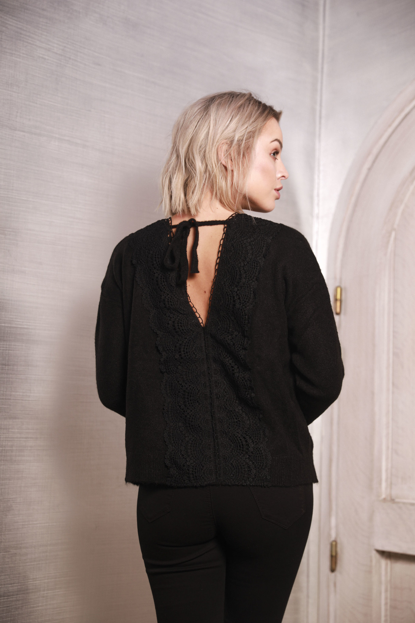 MG Black Sweater Lace Back
