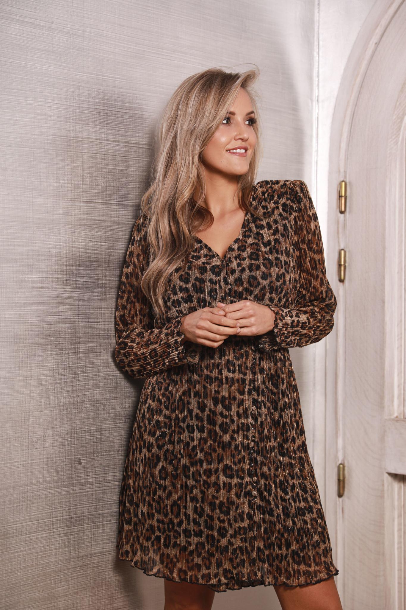 Evia Leopard Long Sleeve Midi
