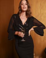 AA Black Wrap Dress Wide Sleeve