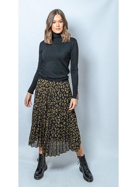 AA AA Plissé Skirt Black Gold Leopard