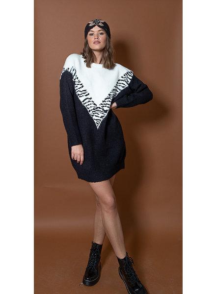 JM Sweater Dress Leopard Black