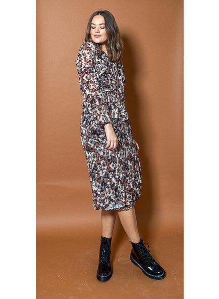 TS Cute Dress Flowers Kakhi/Brown Tone