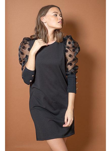 TS Dot Dress Black