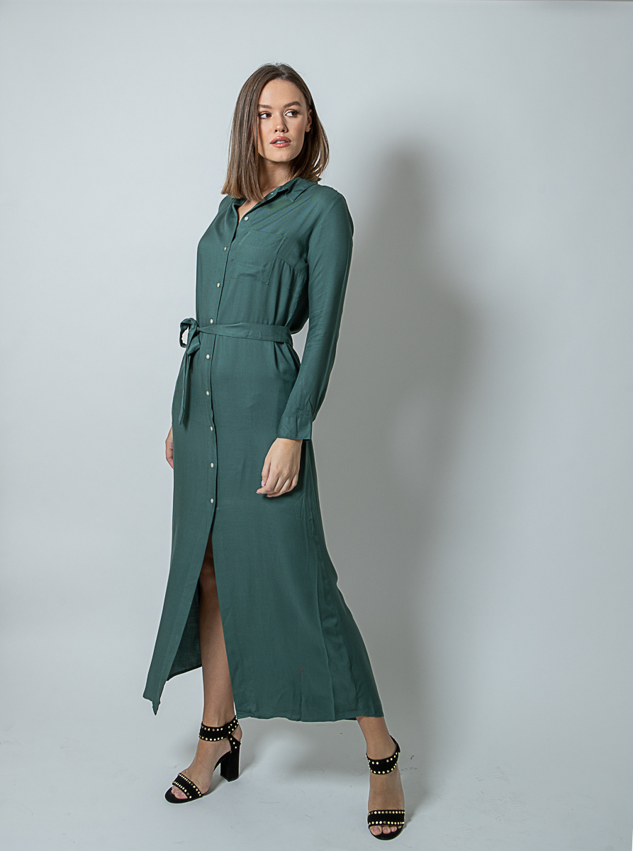 WS Abby Dark Green Chemisier Dress