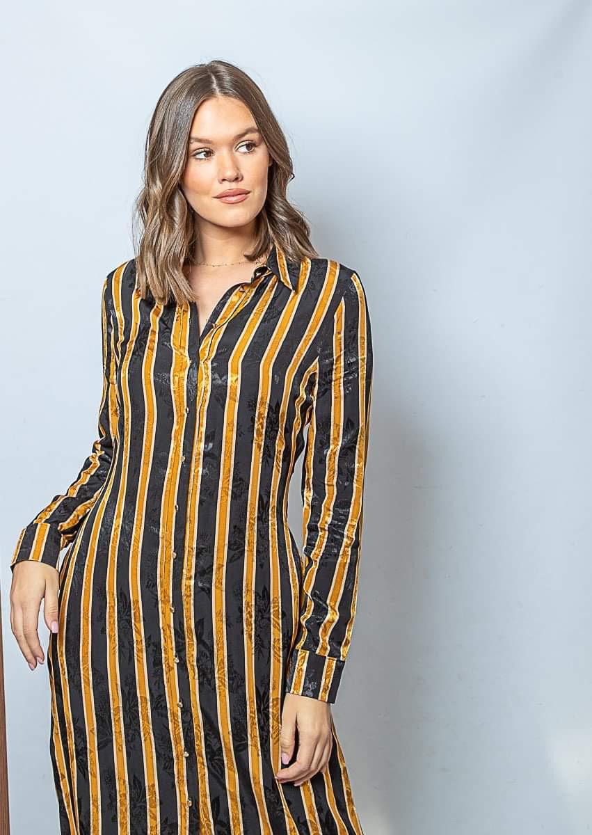 FB Jacky Stripe Dress Black/Oker