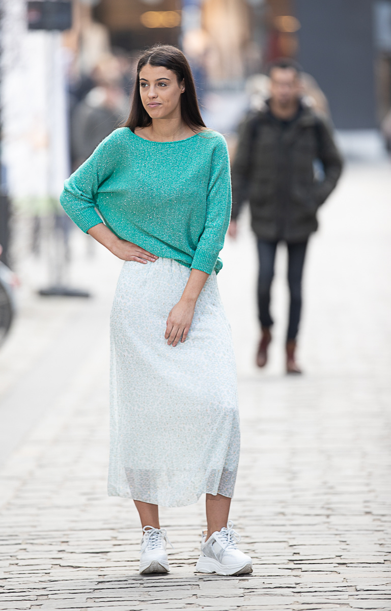 NI Lucky Plissé Skirt Leopard Gold Mint/White