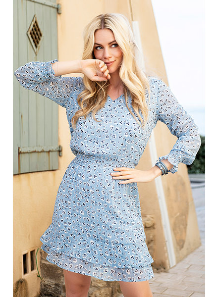 ES Dress Leopard Lurex Light Blue