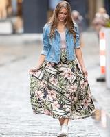 TS Lara Skirt Flowers Black/Pink/Green