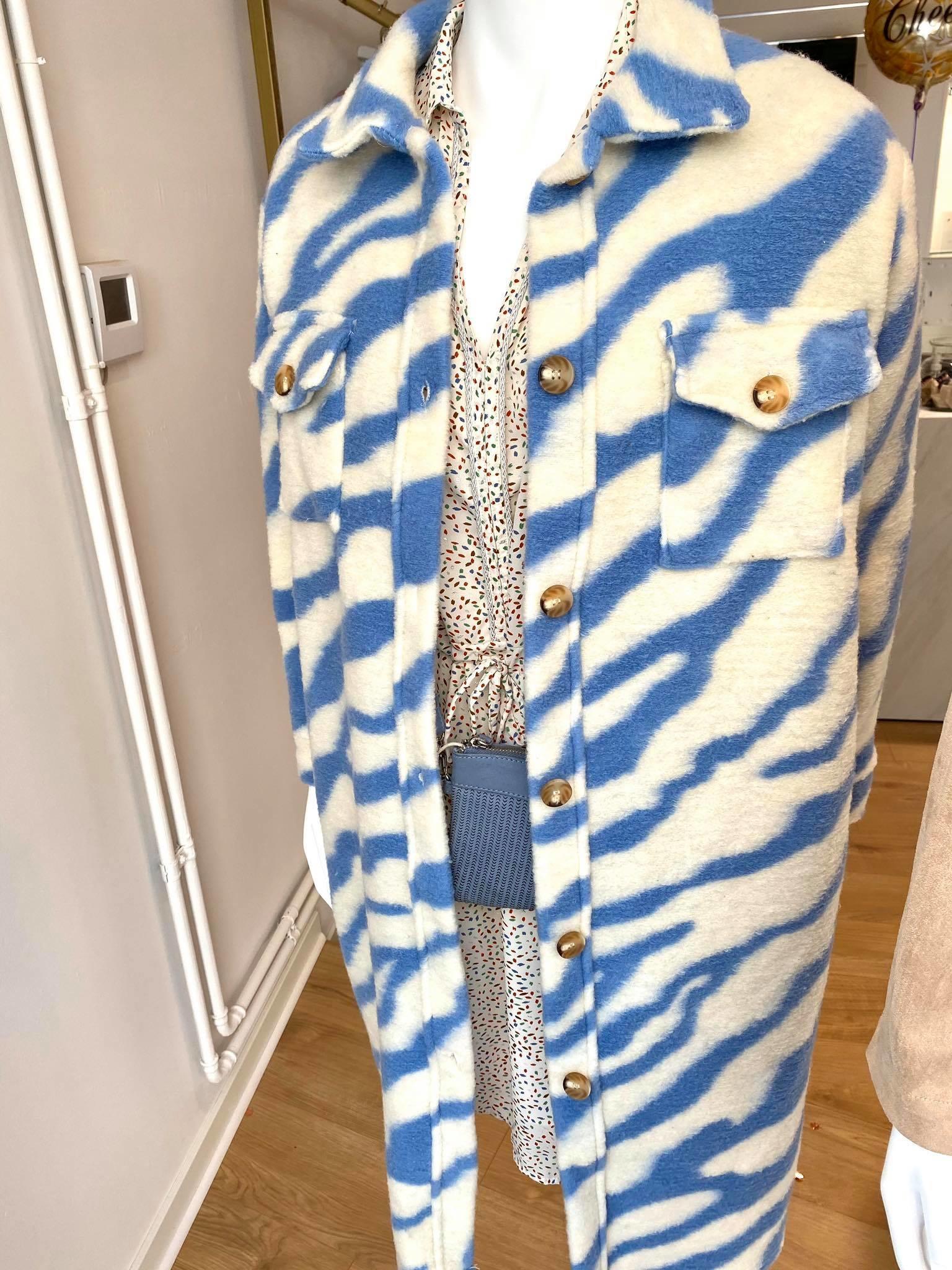 TS Zebra Long Jacket Blue