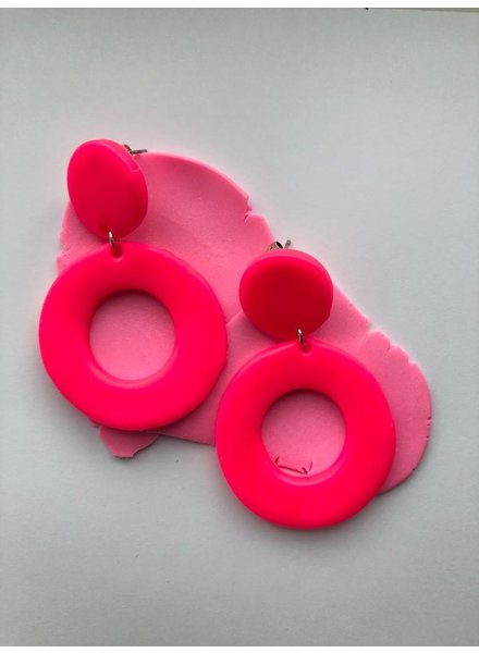 OT Neon Pink Circle Earrings