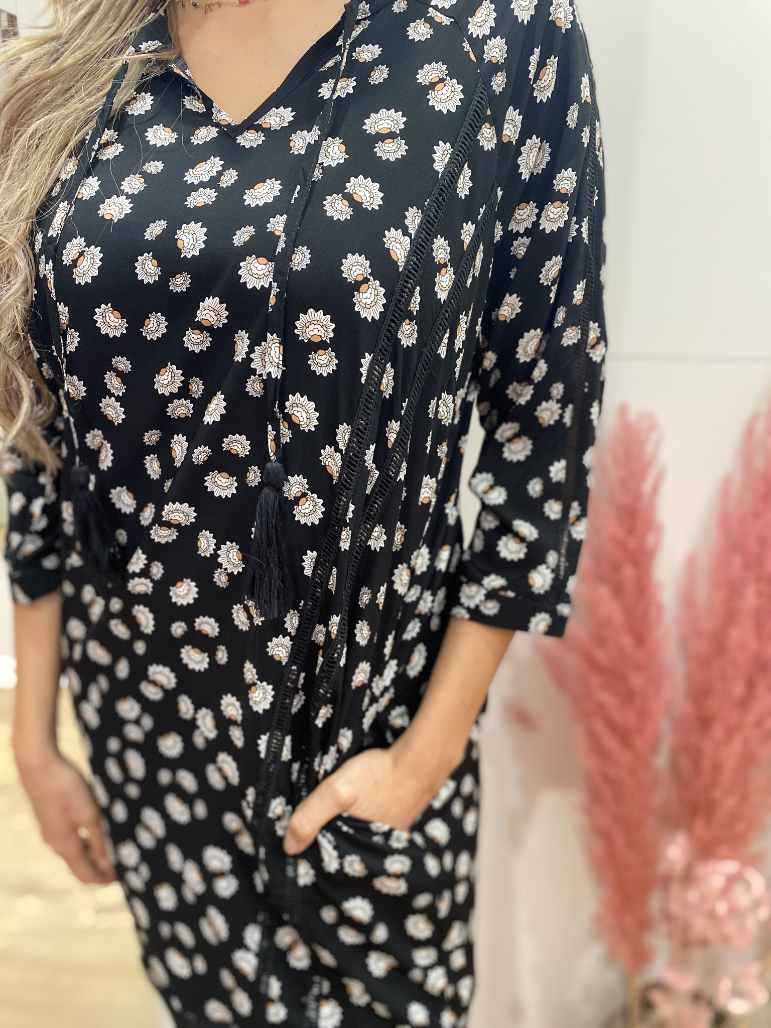BR BR Ballia Dress Black Print