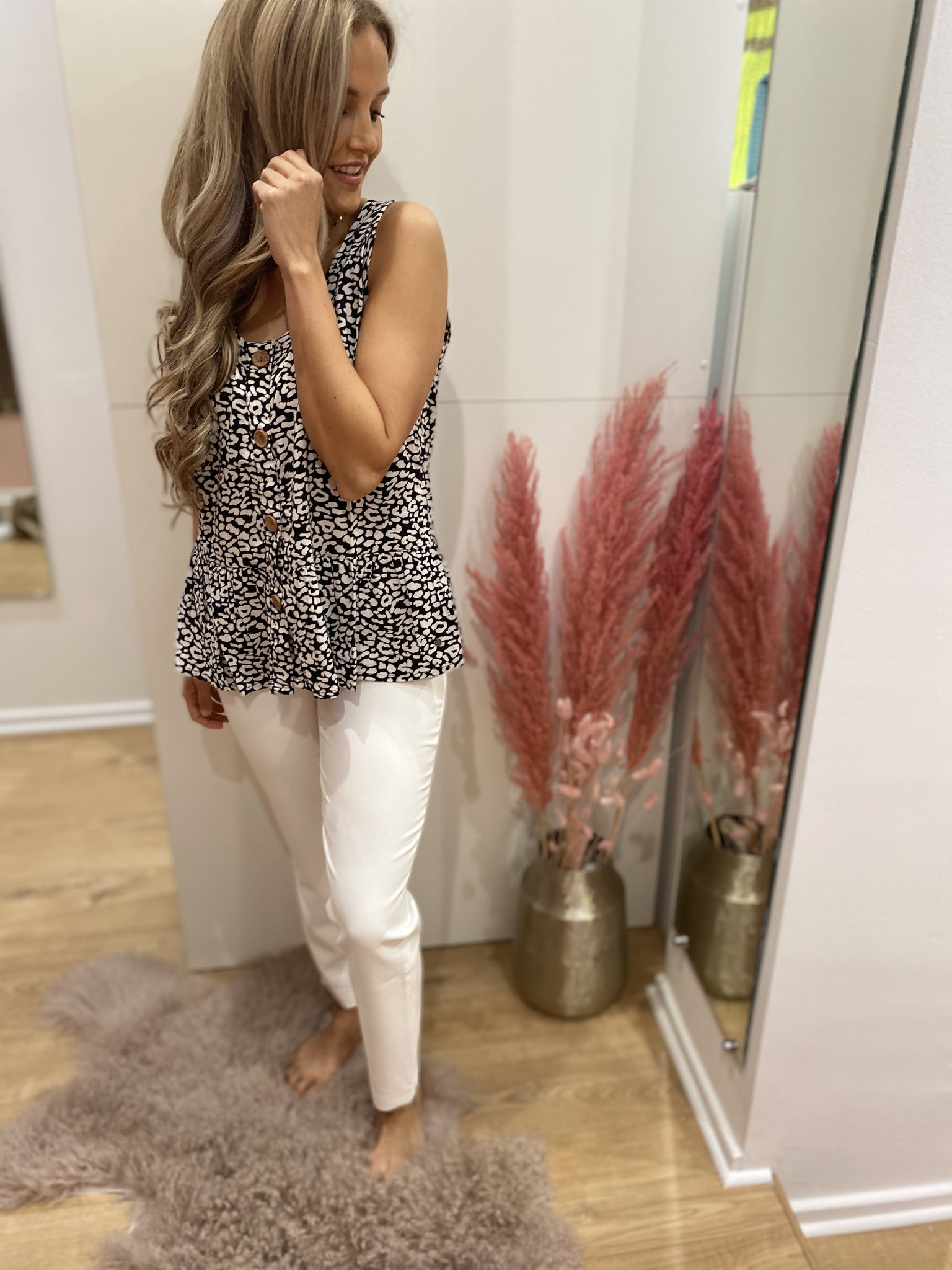 BR Charisse Top Leopard Buttons