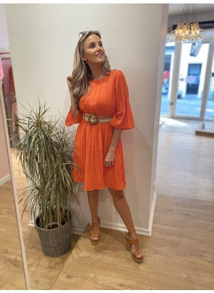 DH Tulle Pleated Dress Orange