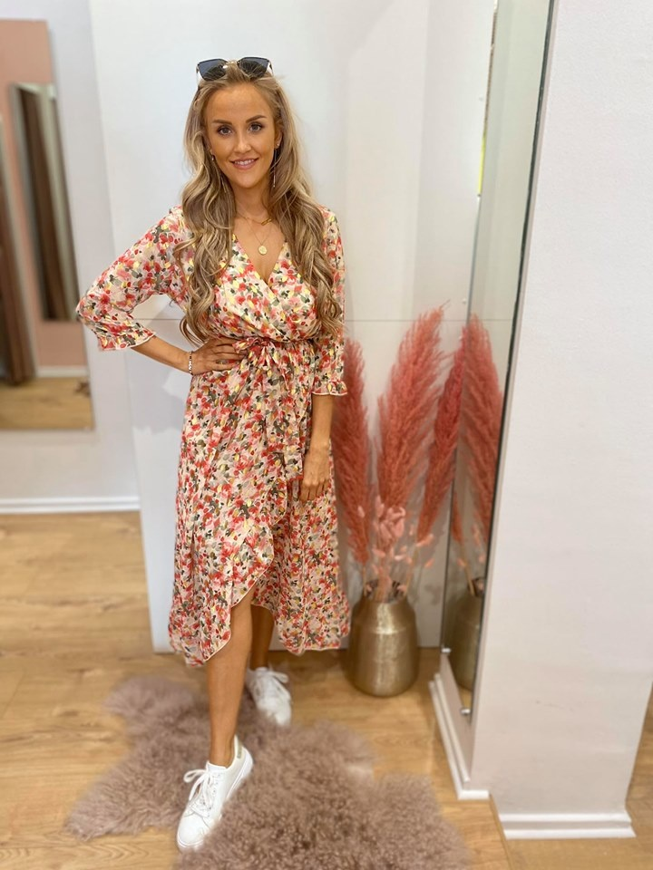 JM Juline Dress Ecru/Kakhi/Red Golden Details