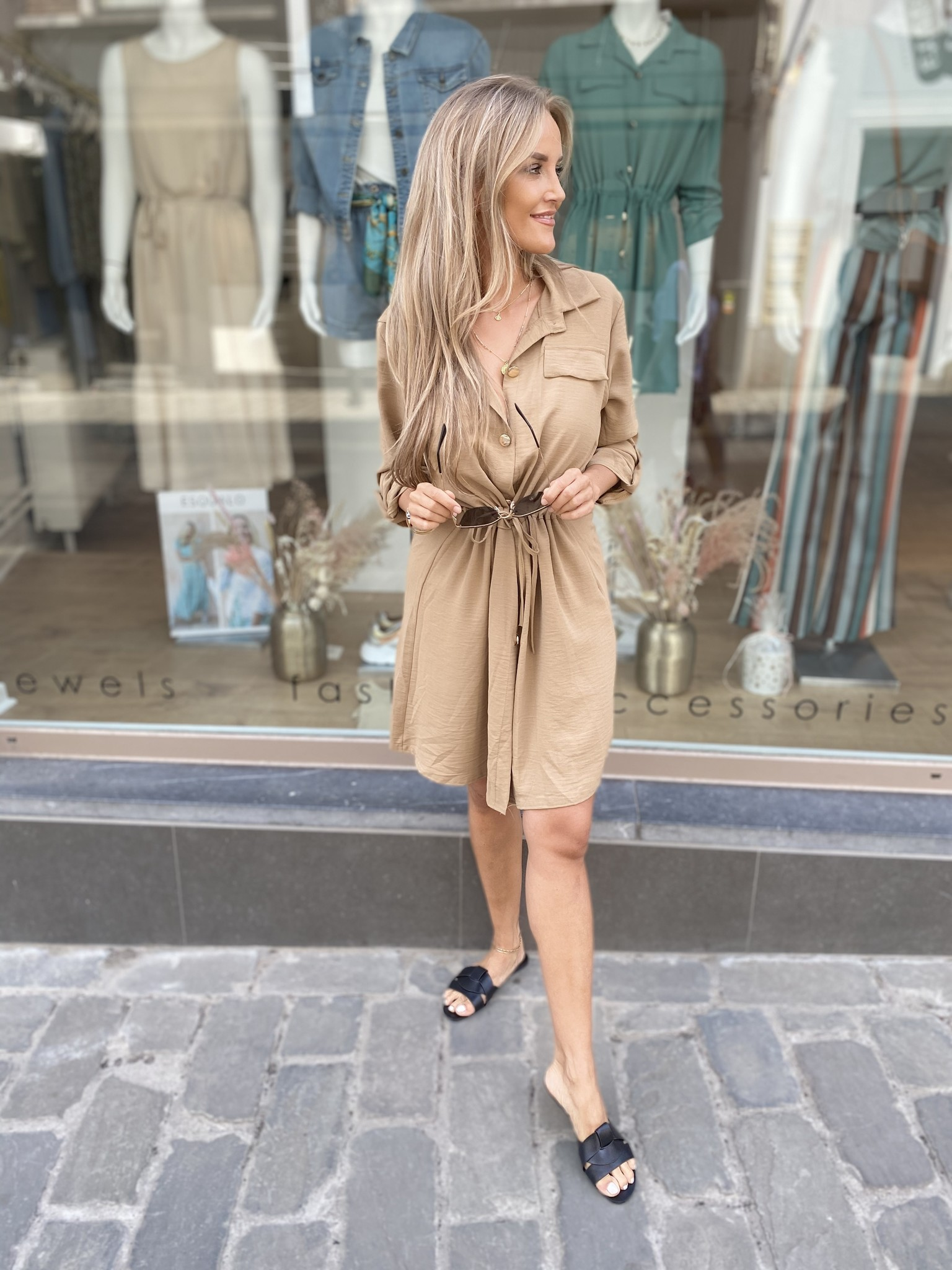 ES Belle Chemisier Dress Camel