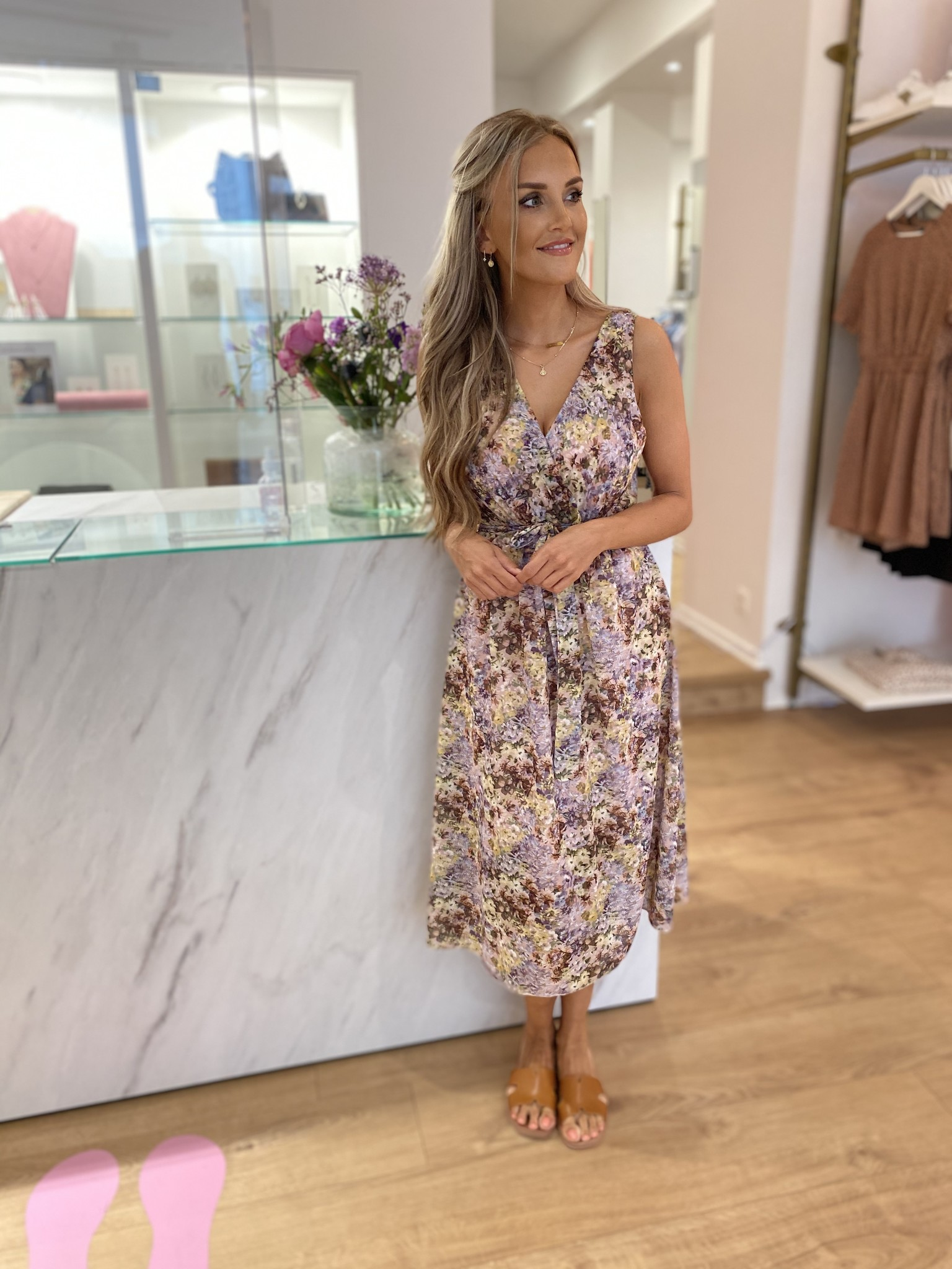 TS Livia Dress Flowers Lilac Tone