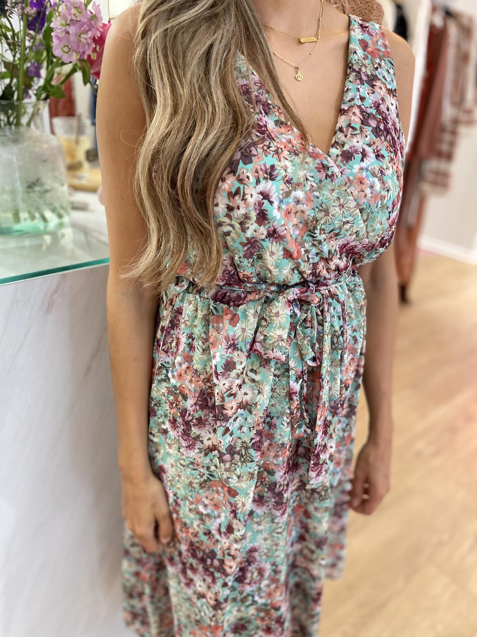 Livia Dress Flowers Green Tone