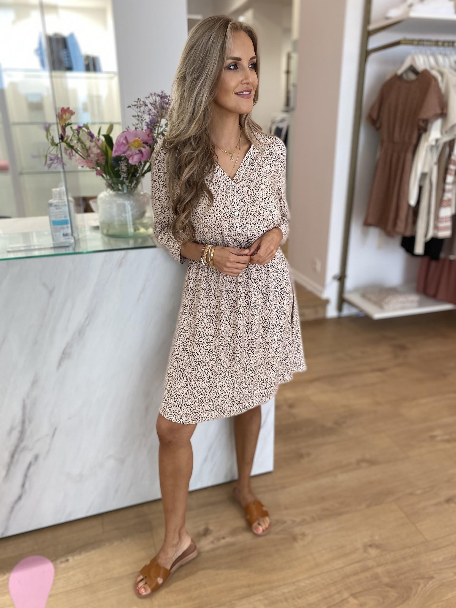 FB Leah Leopard Dress 2/3 Sleeve