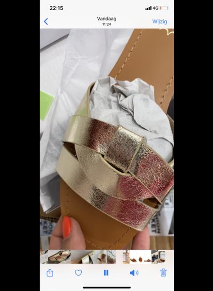 PF Trendy Gold Slippers