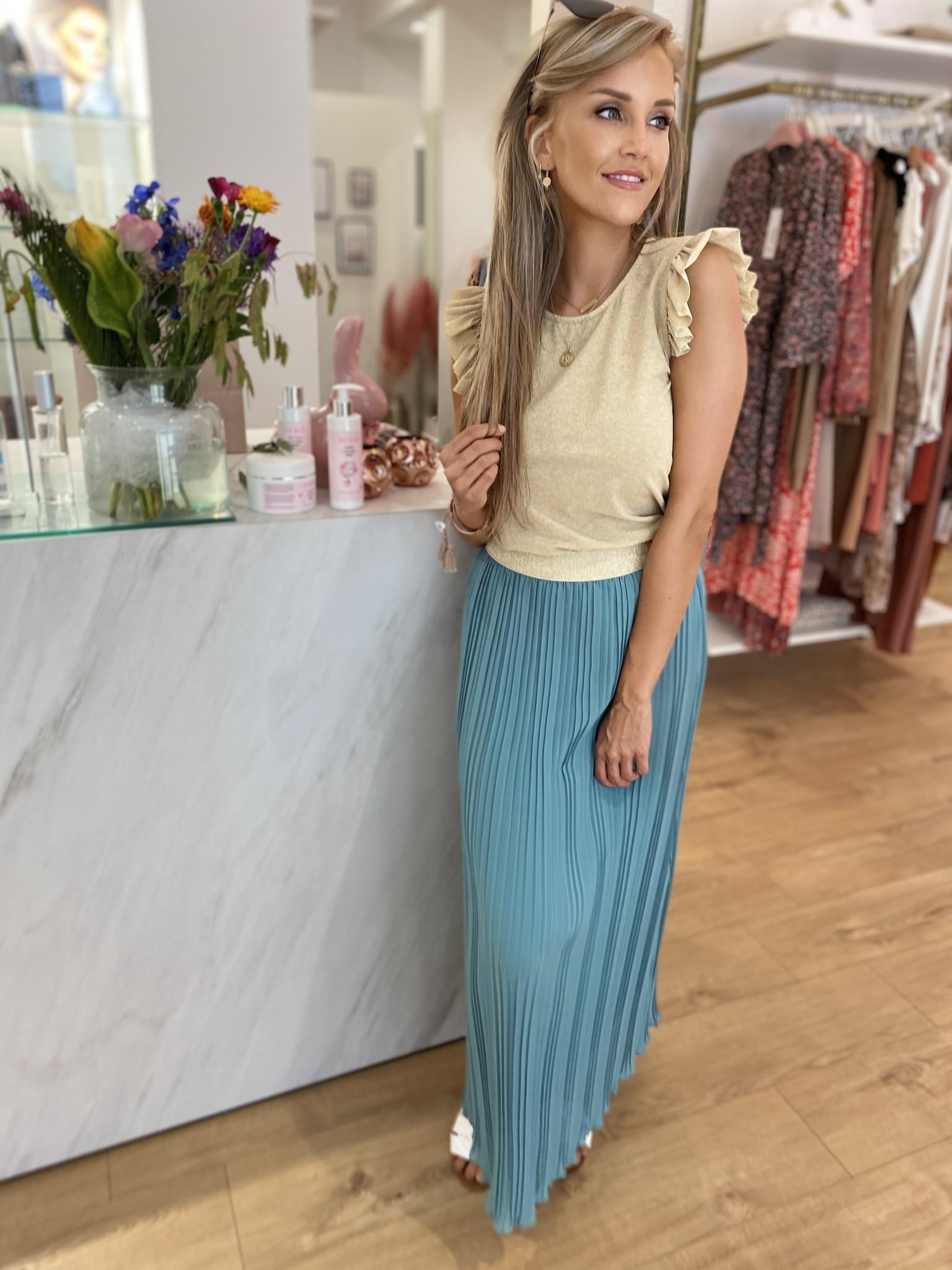 TS Plisse Skirt Ocean Green