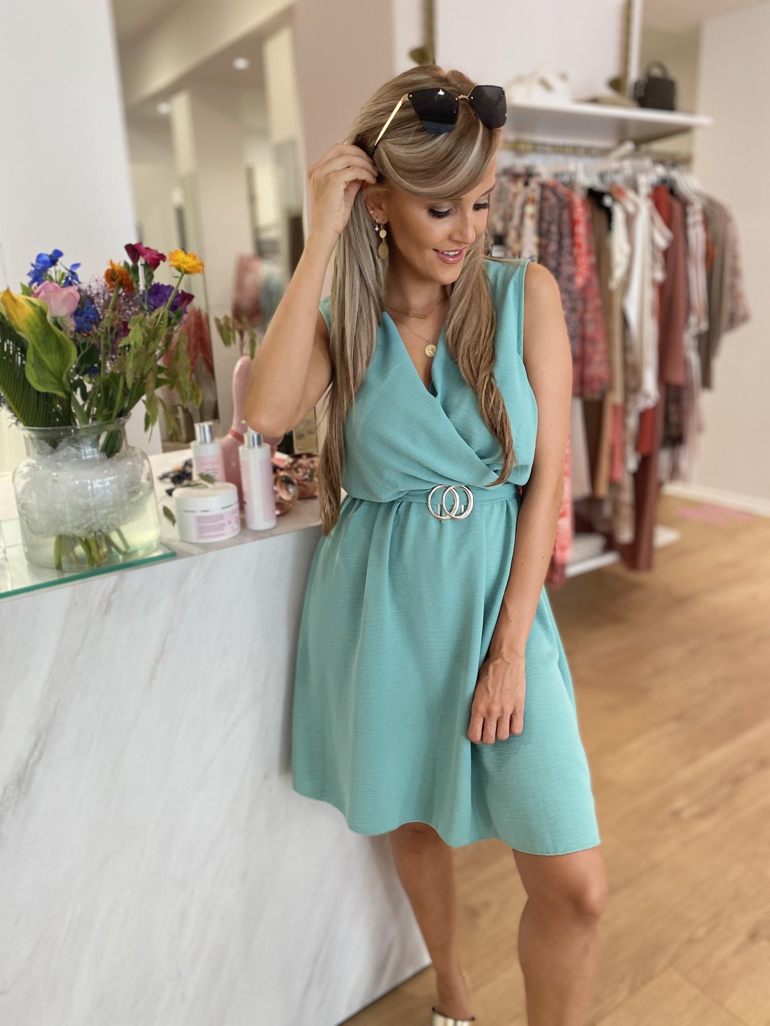 PF Little Dress Ocean Green Belt