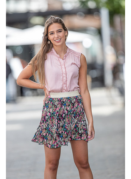 TS Little Plissé Skirt Black Flowers