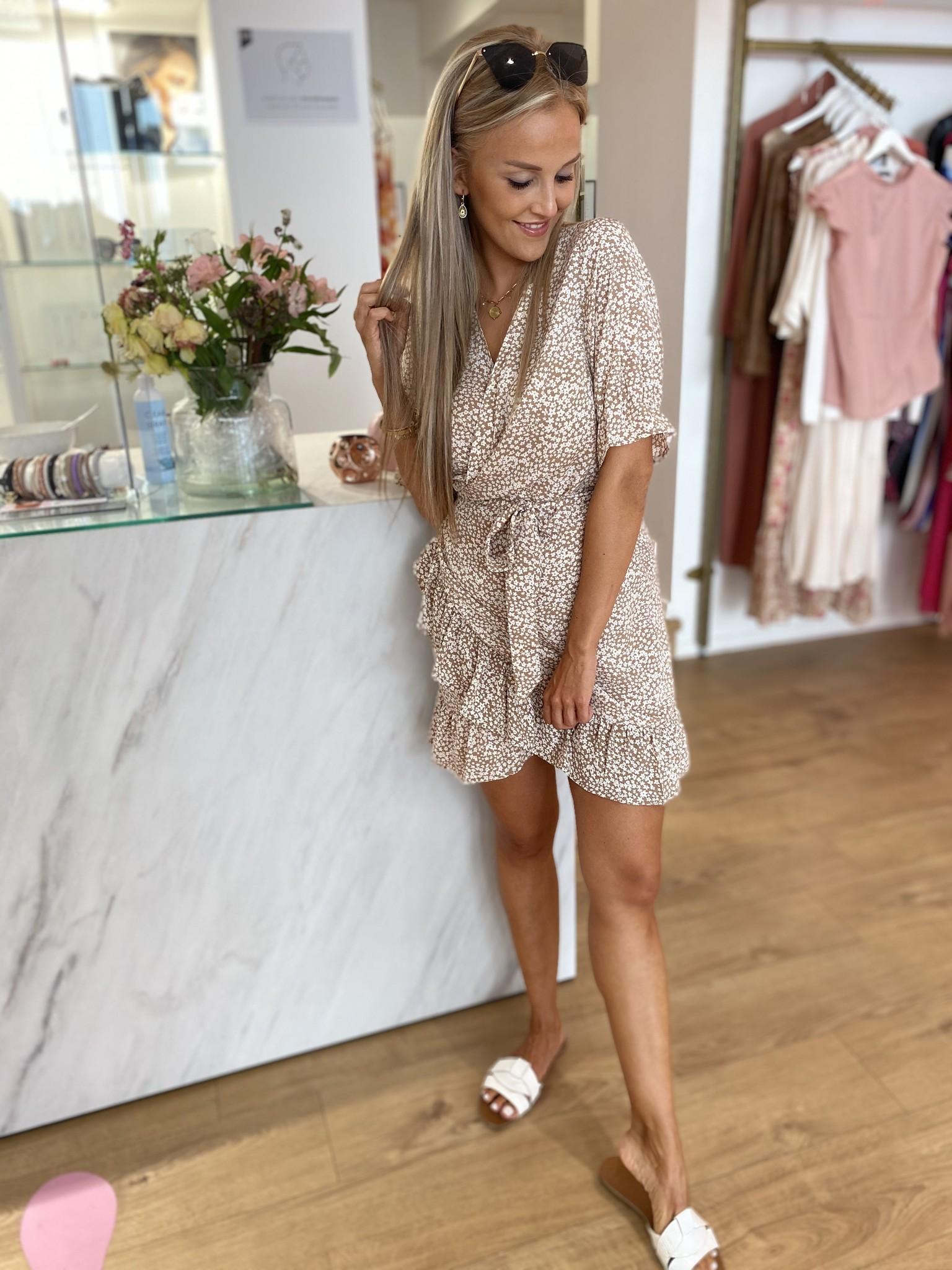 RC Brittany Wrap Dress Beige Flowers