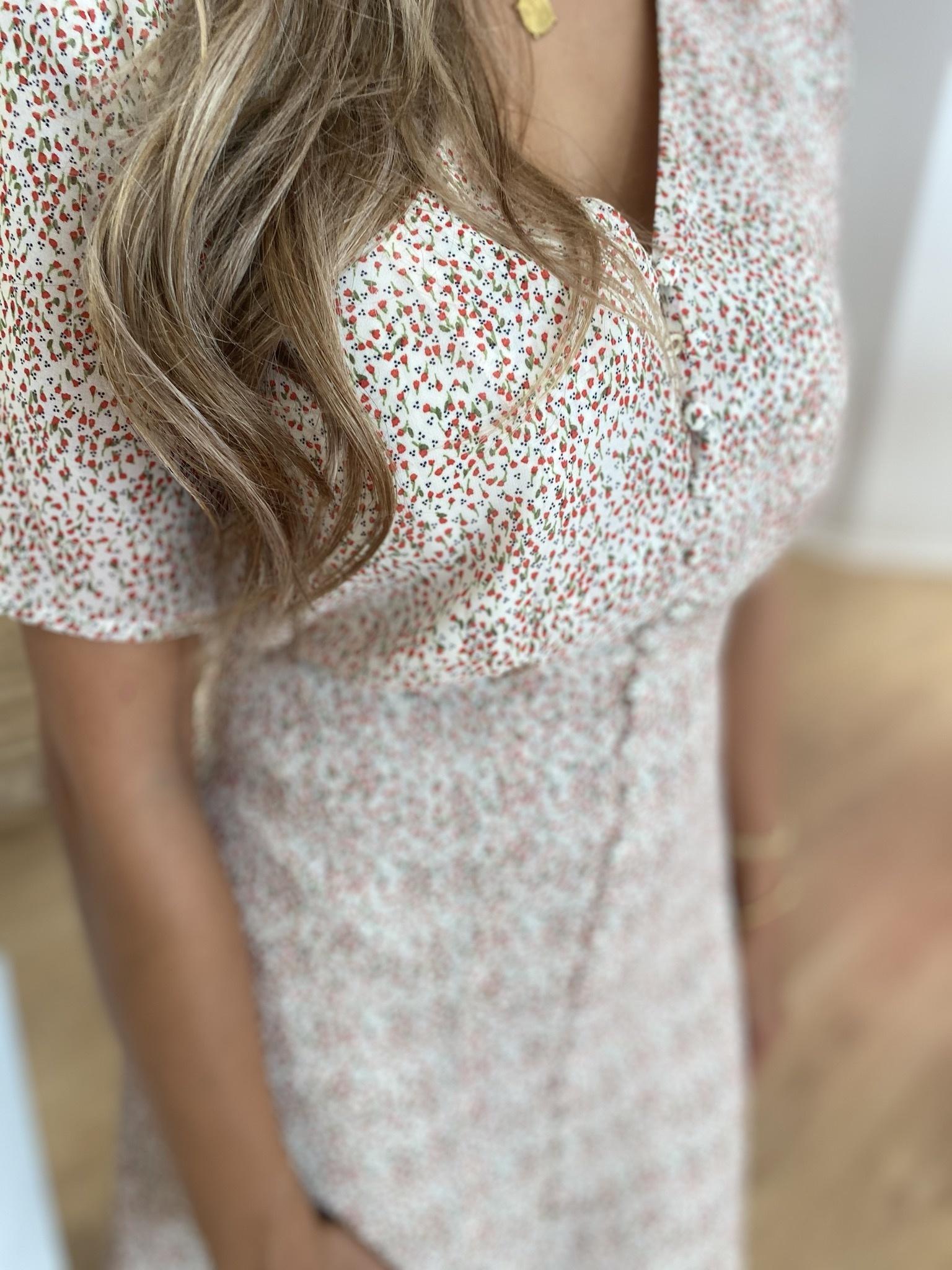 FB Chiara Dress Off-White Mini Flower