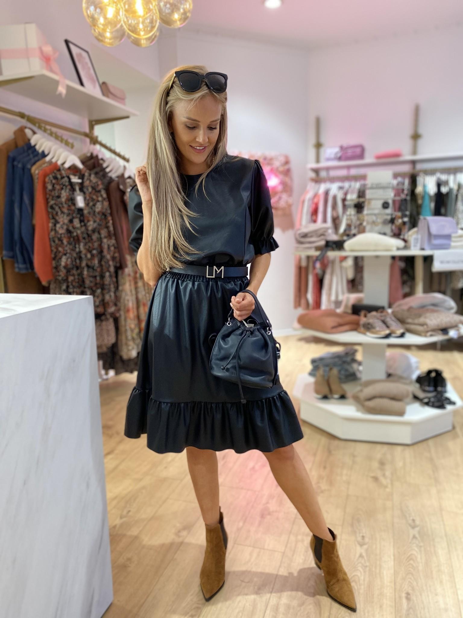 TS Black Faux Leather Dress