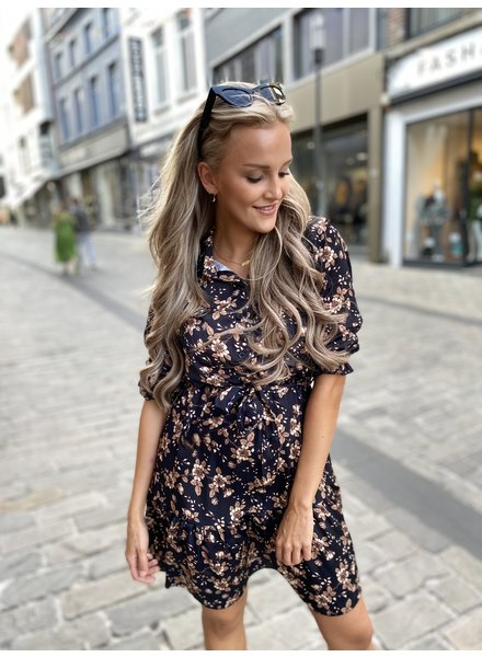 TS Janou Brown Flower Dress Bow