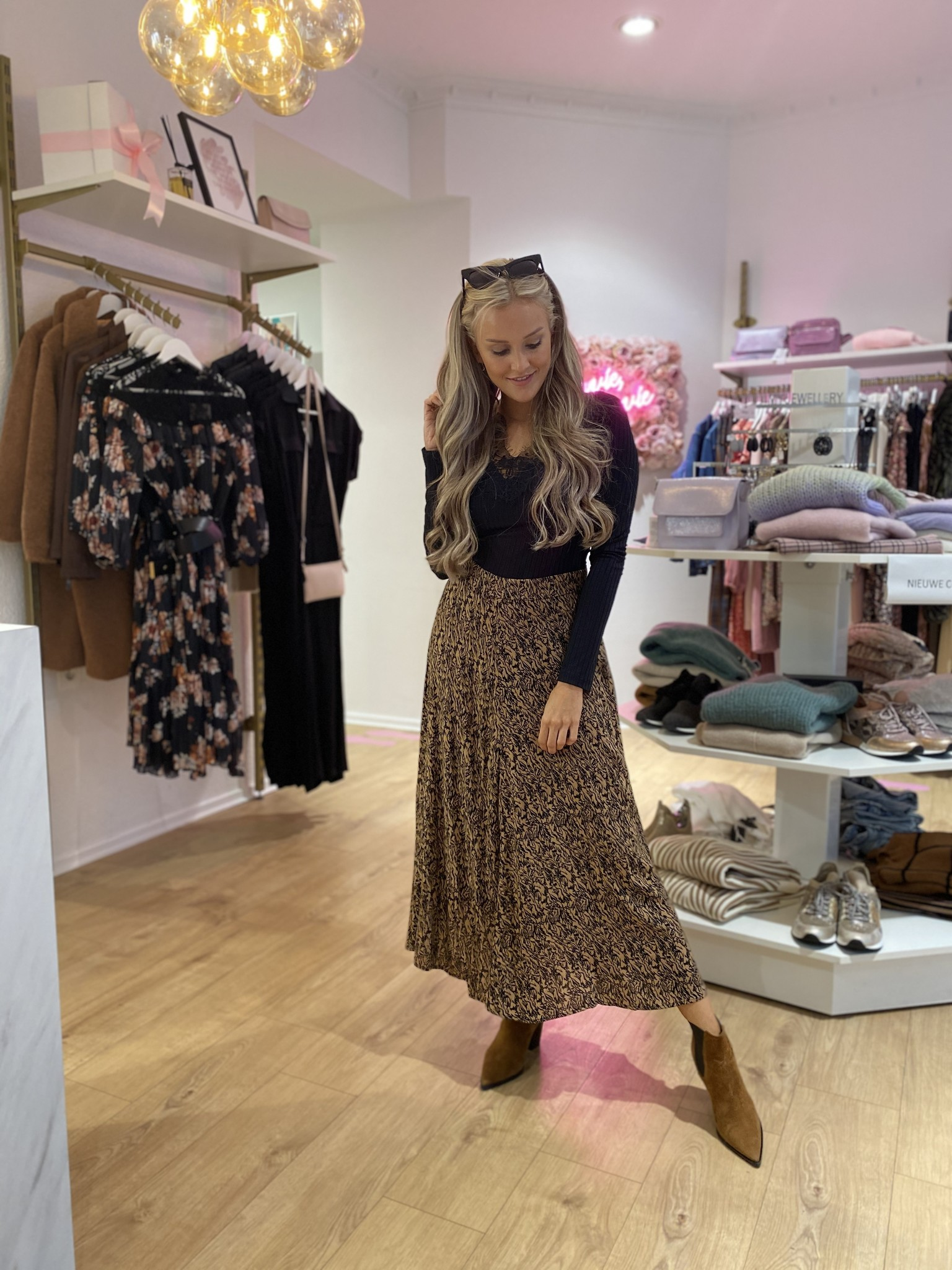 PC Rosa Skirt Camel Black