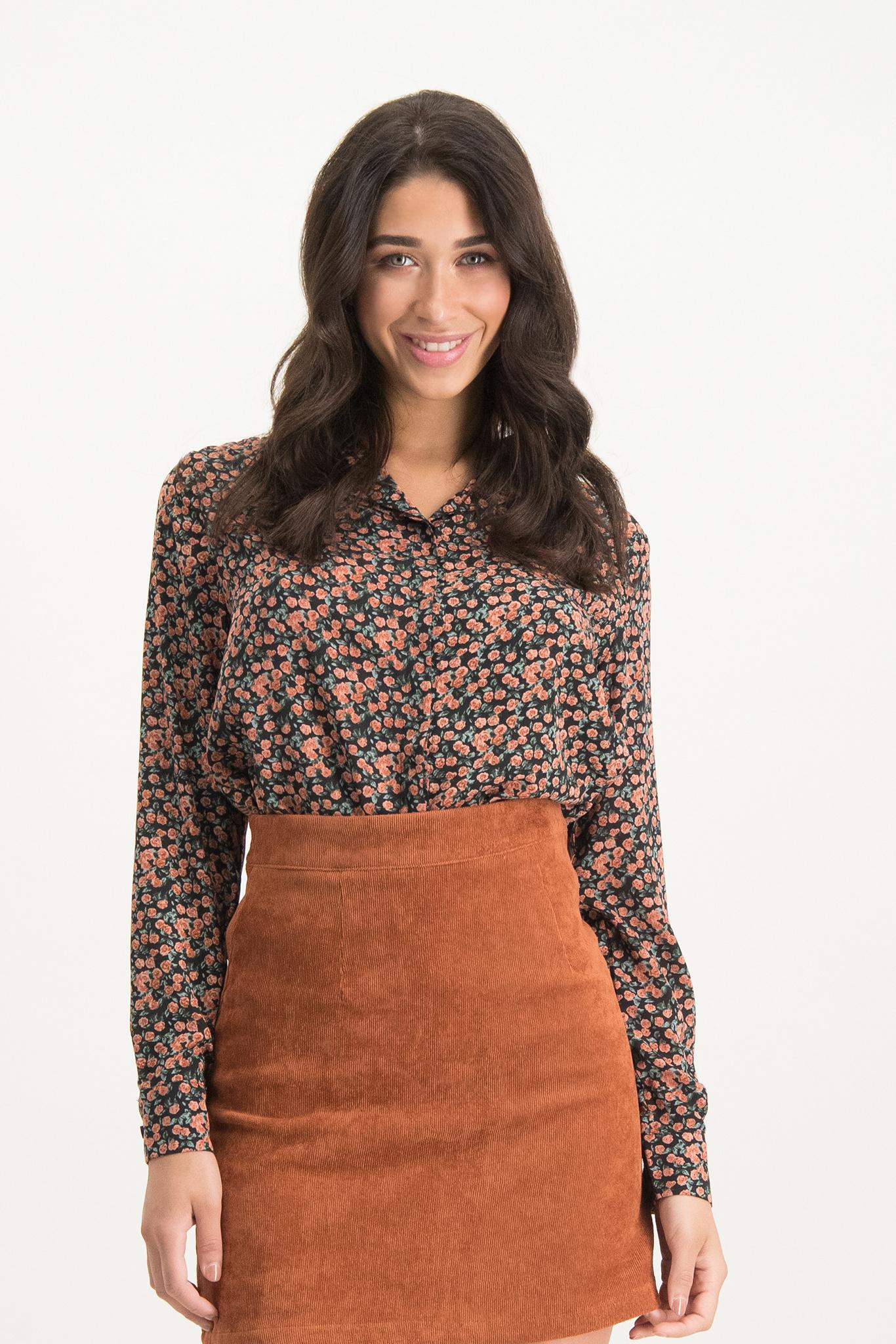 LM Davina Blouse Black Orange Flowers