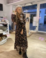 KL Lizzy Long  Dress Black Flower PrintVelvet Details