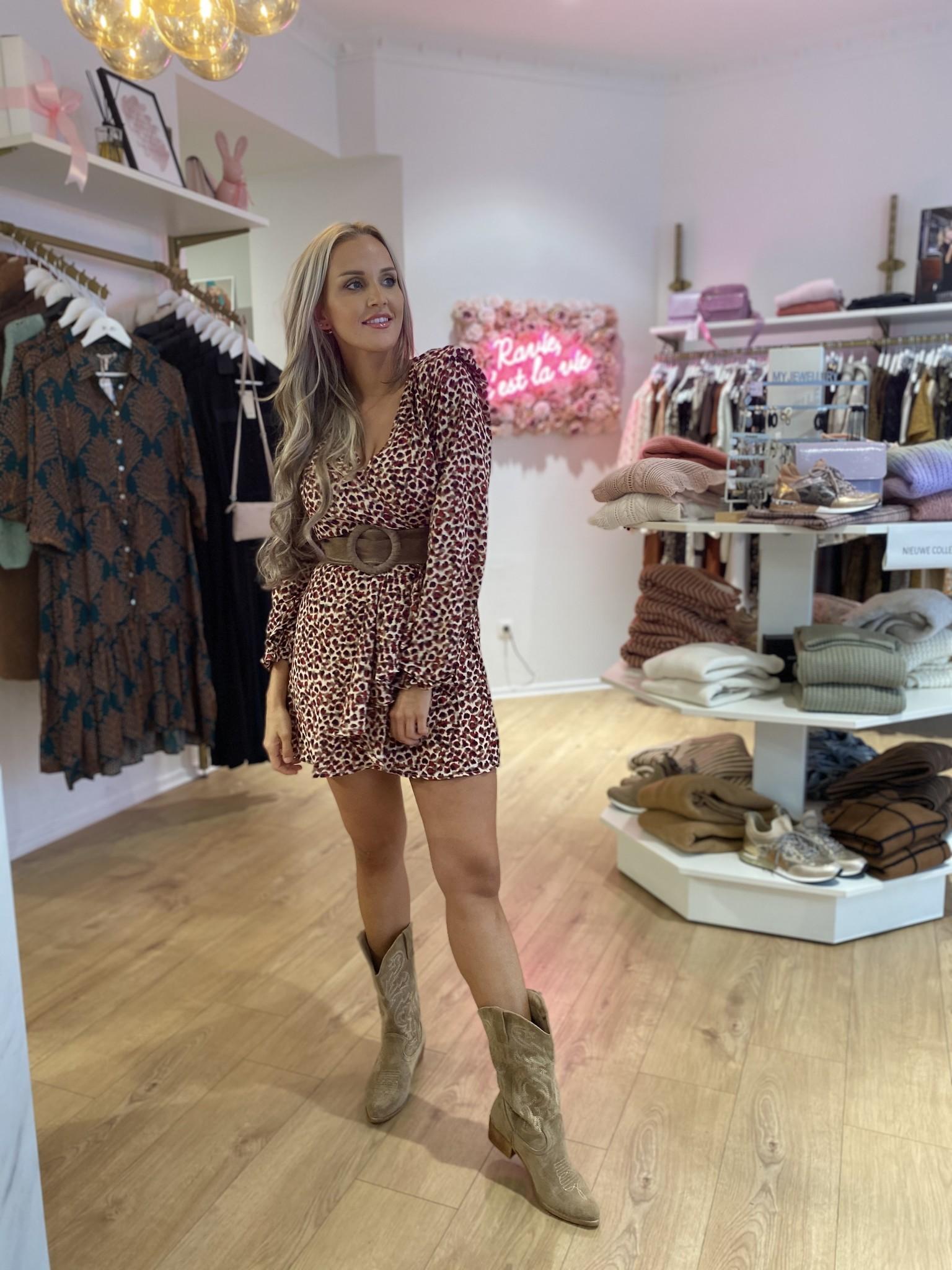 KL Lisanne Dress Bordeaux Leopard