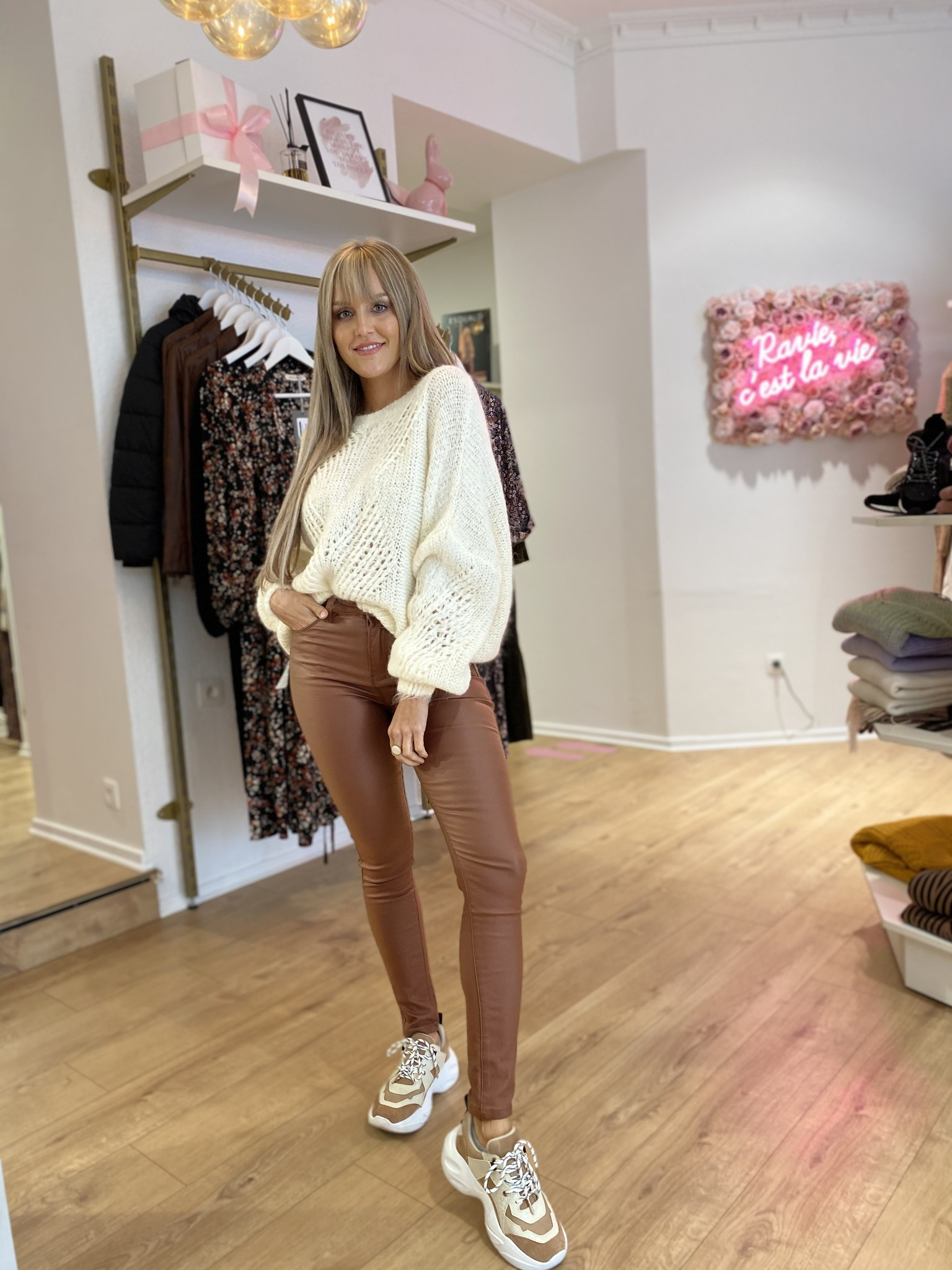 TS Brown Leather Pants