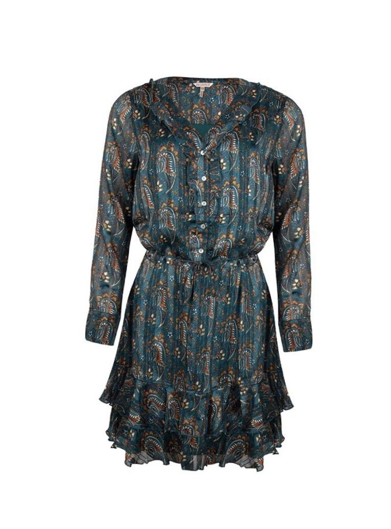 ES Dress Ruffle Paisley Print