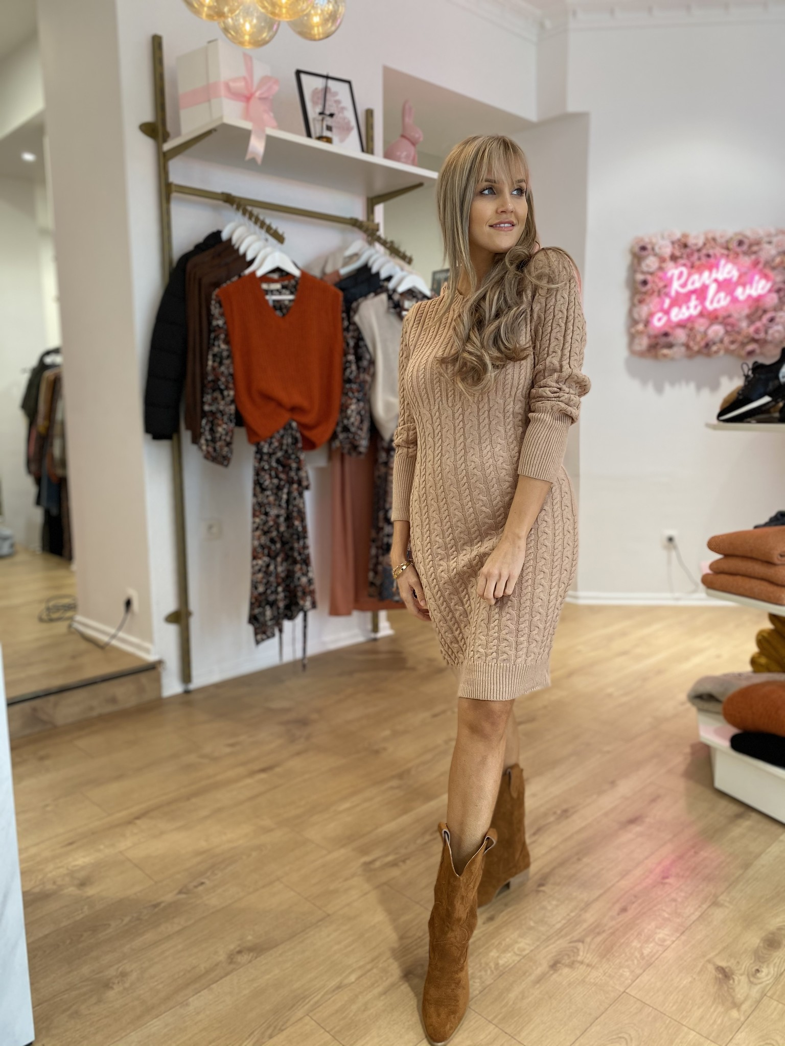 BC Beige Cable Knit Dress