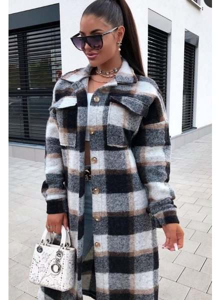 TS Checkered Coat Brown