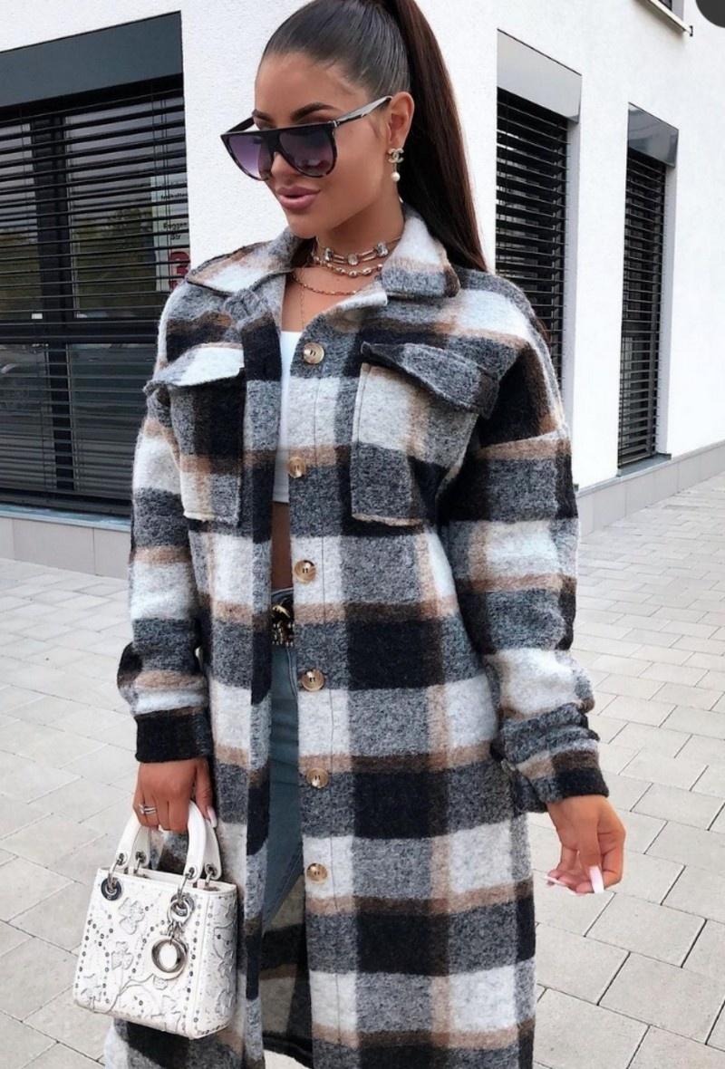 TS Checkered Coat Brown