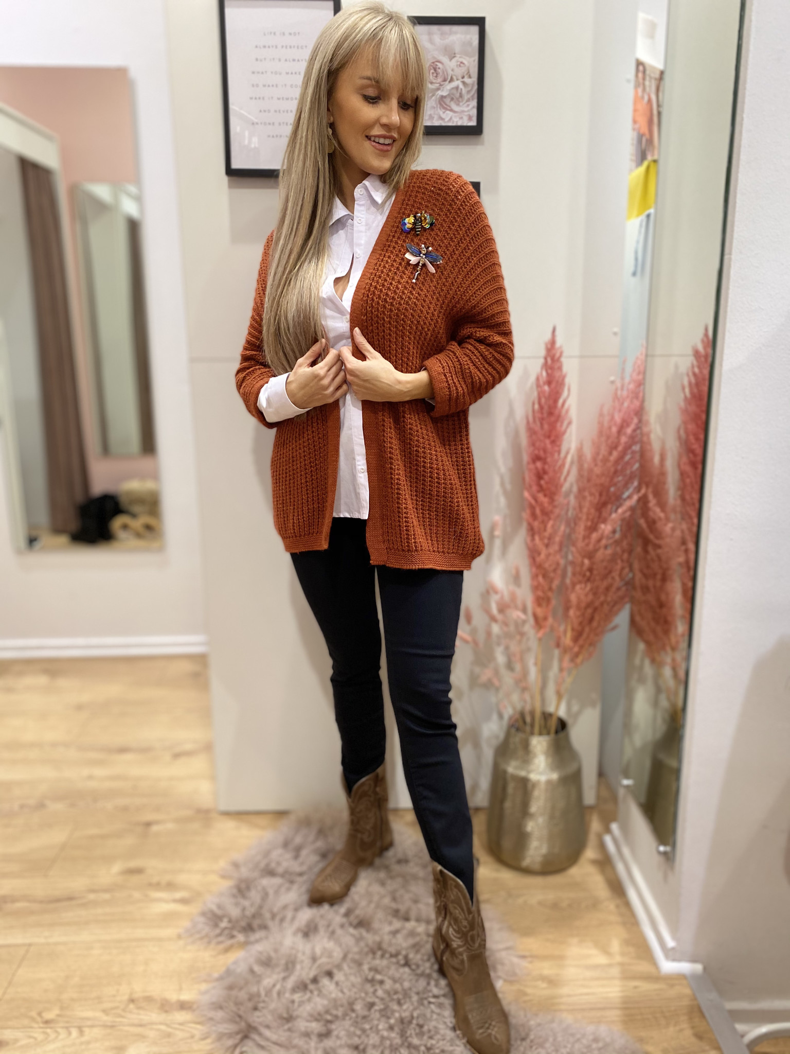 GL Bea Cardigan Broches Roest
