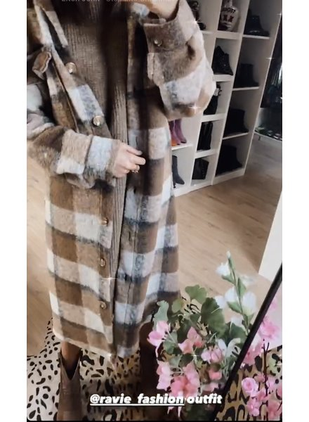 TS Checkered Coat Camel