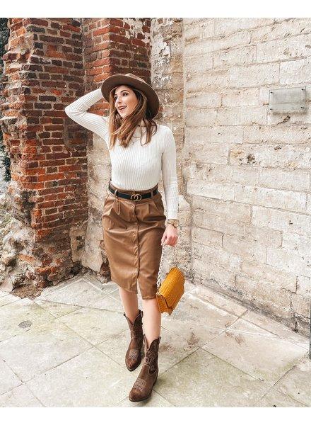 TS Julia Brown Leather Skirt Belt