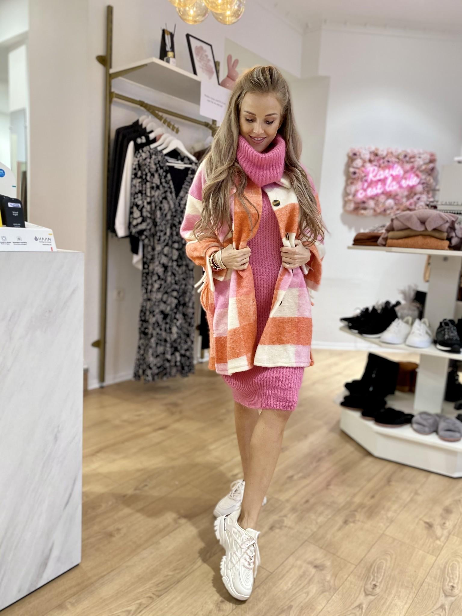 SL Carreaux Coat Fringes Pink/Corail