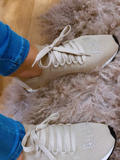 LS Knitted Sneaker Beige Strass